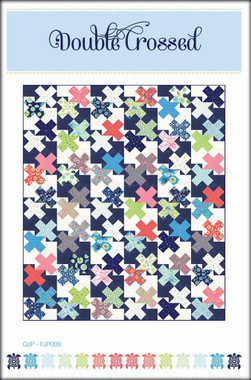 "Double Crossed  Finished block size: 12"" x 12""  Finished quilt size:72 ½"" x 84 ½""     Create a twin sized quilt of interlocking crosses using 2 layer cakes and your favourite solids.      Requirements  2  -  Layer Cakes  Background fabric 1: Dark Solid 2 ¾ yards  Background fabric 2: Light Solid 2 ¾ yards  Binding: ¾ yard  Backing: 5 ¼ yards   Batting: 79"" x 91"""