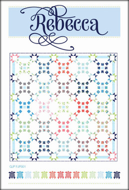 "Rebecca  Finished block size: 16"" x 16""  Finished quilt size: 88 ½"" x 88 ½""    Create an elegant queen sized quilt from one Jelly Roll and your favourite Bella solid.    Requirements   1  Jelly Roll   Background fabric: 7 ½ yards   Border and block centre: ¾ yard of light blue fabric   Binding: ¾ yard   Backing: 6 ¾ yards   Batting: 95"" x 95"