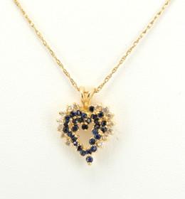 52000856 14K Yellow Gold Diamond/Sapphire Heart Charm