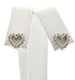 49000079 10K White Gold Diamond Heart Earrings