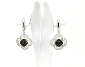 14K White Gold Black and White Diamond Earrings