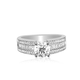 18K White Gold EGL Certified 1.00 ct Diamond Engagement Ring -R