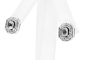 14K White Gold Emeral Cut Diamond Earrings 41000074