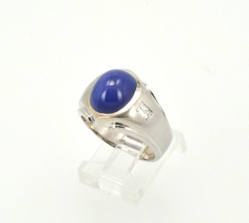 10K White Gold Diamond Synthetic Star Sapphire Mens Ring 19000191