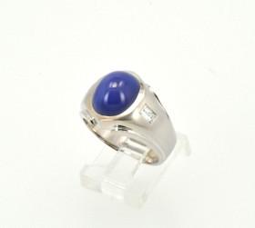10K White Gold Diamond Synthetic Star Sapphire Mens Ring 19000191