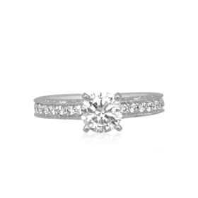 18K White Gold 1.00 ct. GIA Certified Diamond Engagement Ring -R