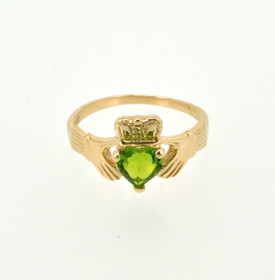 12002100 14K Yellow Gold Peridot Claddagh Ring