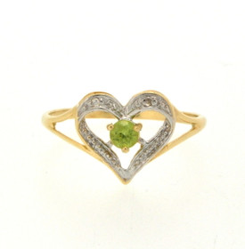 10K Yellow Gold Peridot/Diamond Ring 19000179