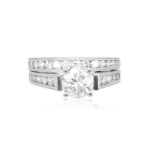 18K White Gold 1.12 ct Diamond Engagement Ring Sets -R