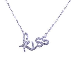 "14K White Gold Adjustable ""Kiss"" Diamond Necklace 31000447"