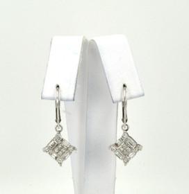41060570 14K White Gold Diamond Hanging Earrings