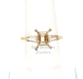 14K Yellow Gold Emerald-Cut Diamond Engagement Ring Setting