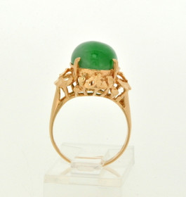 18K Yellow Gold Oval Jade Ring 12002079