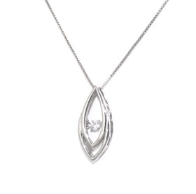 84210053 Sterling Silver Rhythm of Love CZ Tear Drop Necklace