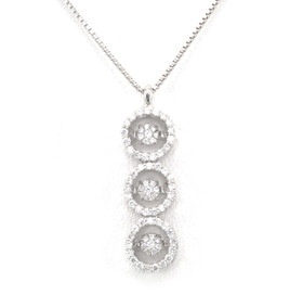 84210048 Sterling Silver Rhythm of Love CZ Circle Drop Necklace