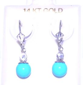 14K White Gold Turquoise Ball Earrings 42002050