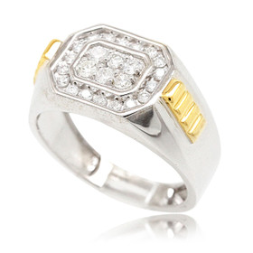 10K Yellow and White Gold Men's Diamond Ring