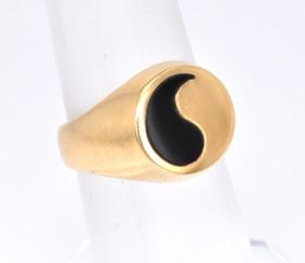 12001229 14K Yellow Gold Yin Yang Onyx Men's Pinky Ring