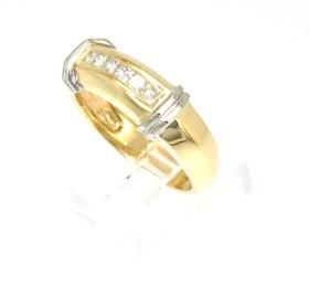 14K Yellow And White Two Tone Gold Diamond Men's Ring 11001064