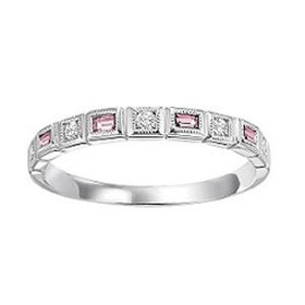 14K White Gold Pink Tourmaline & Diamond Stackable Ring FR1223