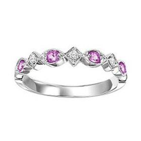 14K White Gold Pink Sapphire & Diamond Stackable Ring 12002186