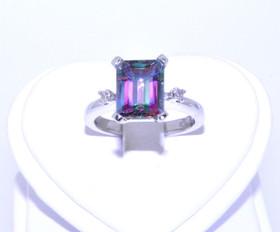 12002195  14K White Gold Mystic Topaz Emerald Cut Diamond Ring
