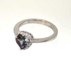 12002197 14K White Gold Heart Shape Mystic Topaz Diamond Ring
