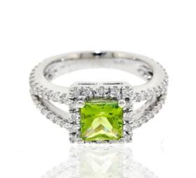 14K White Gold Diamond Peridot Ring