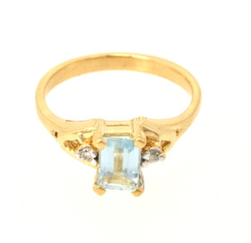 14K Yellow Gold Aquamarine and Diamond Ring 12002145