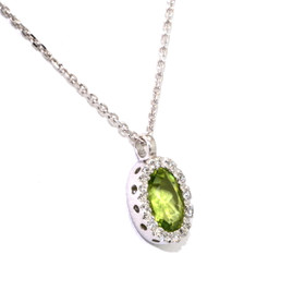 "14k White Gold Diamond /Peridot Pendant With 18"" Chain"