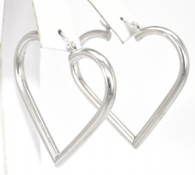 14K White Gold Heart Shape Hoop Earrings 40000943
