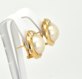 14K Yellow Gold Diamond and Mabe Pearl  Earrings 42002074