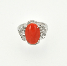 14K White Gold Diamond and Coral Ring 12002142