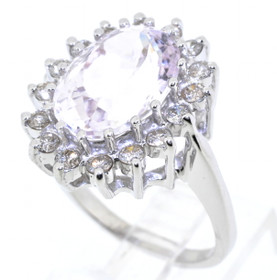 12002201 14K White Gold Morganite/Diamond Ring