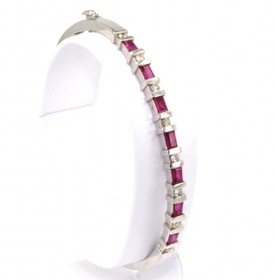 24000008 14K White Gold Ruby & Diamond Bangle