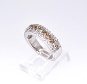 14K White Gold Champagne & White Diamond Band 12001768