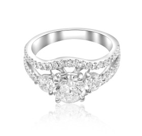 18K White Gold GIA Certified 1.01 ct Diamond Engagement Ring