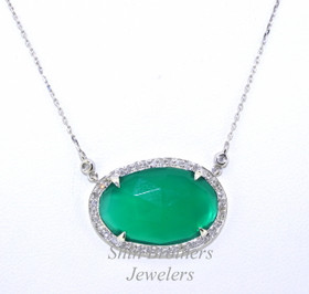32000359 14K White Gold Diamond Green Onyx Necklace