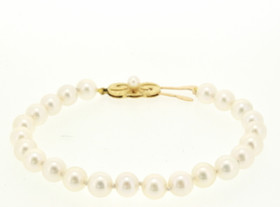 18K Yellow Gold Pearl Bracelet 22000544