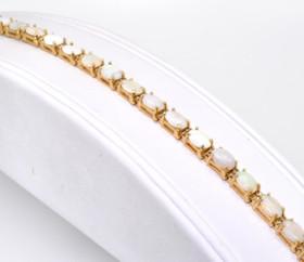 22000333 14K Yellow Gold Diamond/Opal Bracelet