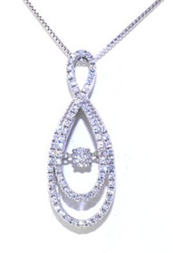 83010436 Sterling Silver Rhythm of Love CZ Double Figure 8 Necklace