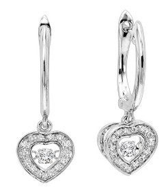 Sterling Silver Rhythm of Love CZ Heart Earrings 84010277