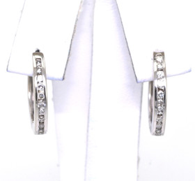14K White Gold Diamond Huggies Earrings