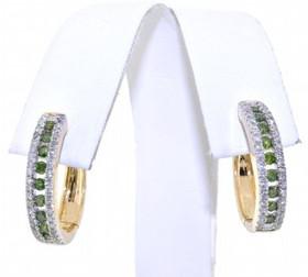 41060618 14K Yellow Gold Green & White Diamond Earrings