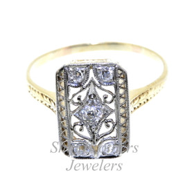 14K Two Tone Gold Antique Style Diamond Ring 11003831