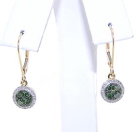 14K Yellow Gold Green & White Diamond Lever Back Earrings 41060620