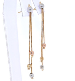 40000521 14K Tri Toned Gold Drop Earrings