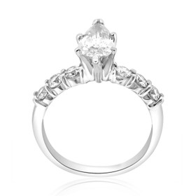 14K White Gold EGL Certified 1.78ctw Pear Cut Diamond Engagement Ring -R