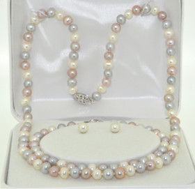 Silver Pearl Set: Earrings, Bracelet & Necklace