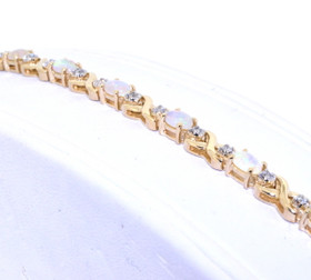 22000572 14K Yellow Gold Diamond/Opal Bracelet